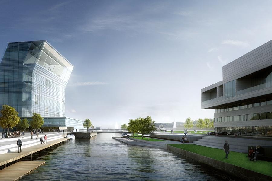 Akerselva nedre løp med Operaen til høyre og det planlagte Munch museet til venstre